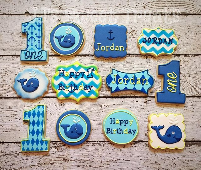 Hoping Jordan had a whale of a time at his 1st birthday party! _#customcookies #decoratedcookies #de