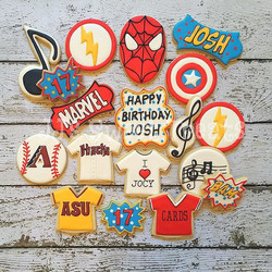 Custom cookies for Josh's 17th birthday!  Just a few of his favorite things..