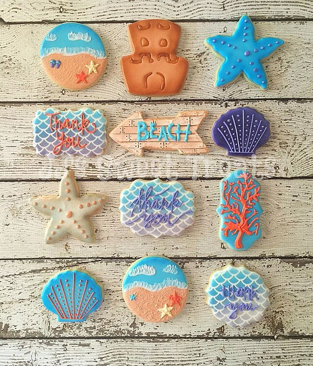 Beach theme thank you cookies