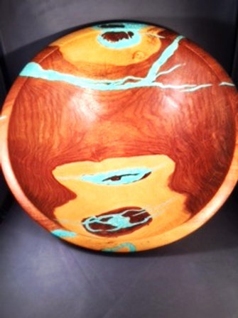 Mesquite and Turquoise Inlayed Bowl