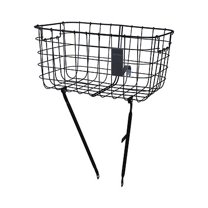 Basil Robin - bicycle basket -front - black