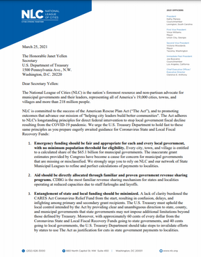 NLC Writes Letter to U.S. Treasury, Makes Municipal Needs Clear