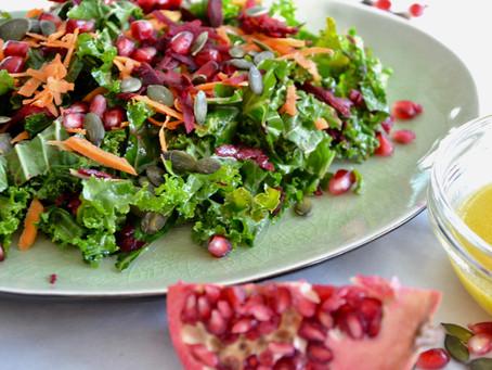 Winter Kale & Pomegranate Salad