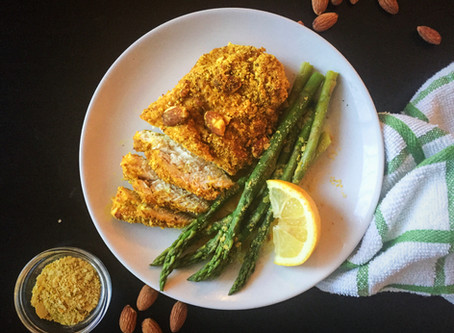 Golden Almond Chicken with Cheesy Asparagus {Low Carb, DF, GF}