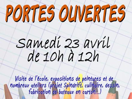 Portes ouvertes à l'école - samedi 23 avril de 10h à 12h