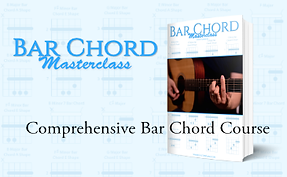 Learn how to play bar chords and chord progressions in any position on the guitar neck with the Bar Chord Masterclass Course