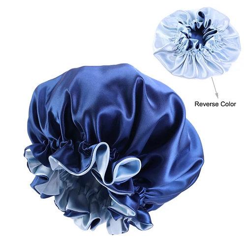 ADULT SATIN BONNET BLUE