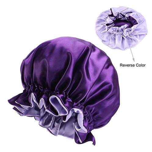 ADULT SATIN BONNET PURPLE