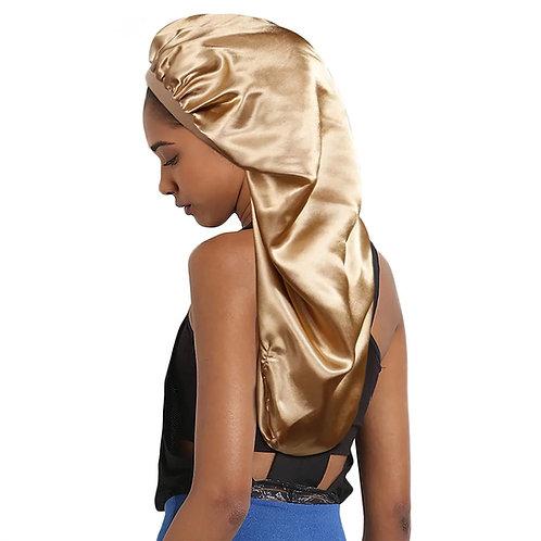 GOLD SATIN BONNET FOR LONG HAIR, BRAIDS AND LOCS