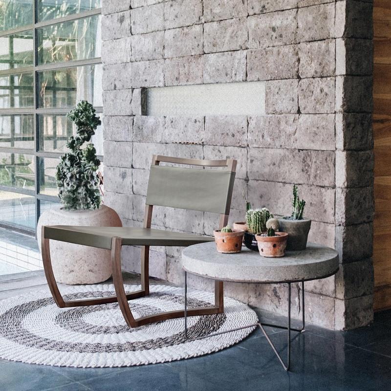 Кресло STEN, дизайнерское кресло из дерева и кожи