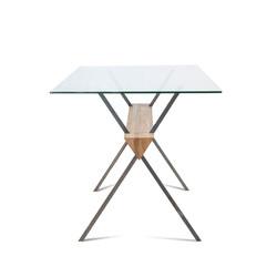 Стол EASY FORM дуб и металл, стекло разборный, индустриальный стиль