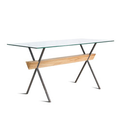 Стол EASY FORM дерево и металл, стекло разборный, индустриальный стиль