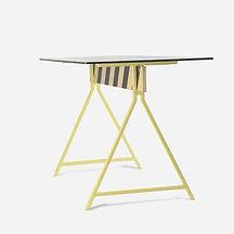 Стол CAUTION из металла, дерева и стекла, индустиальный стиль, стол письменный, стол для подростка, стол из металла