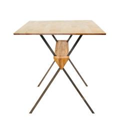 Стол EASY FRAME с деревянной столешницей в стиле лофт