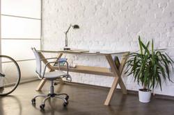 Стол деревянный ARCHE, стол с полкой