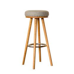 Барный стул из натурального дерева с шерстяным сиденьем