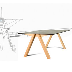 Table WINGS with airplane, wooden