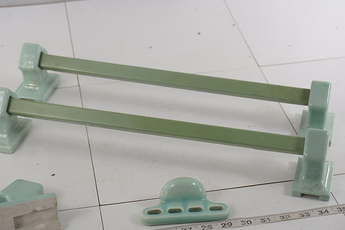 Pair of 1950s Green Porcelain Towel Bars And Tooth Brush Hol