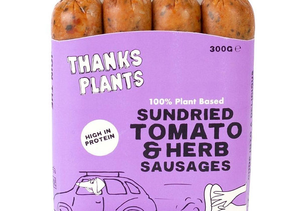 THANKS PLANTS 100% PLANT BASED SUNDRIED TOMATO AND HERB SAUSAGES (300G)