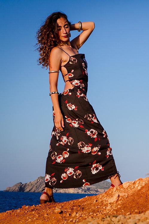 Black and flowers Nattaka dress