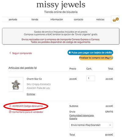 agregar código descuento en la tienda online