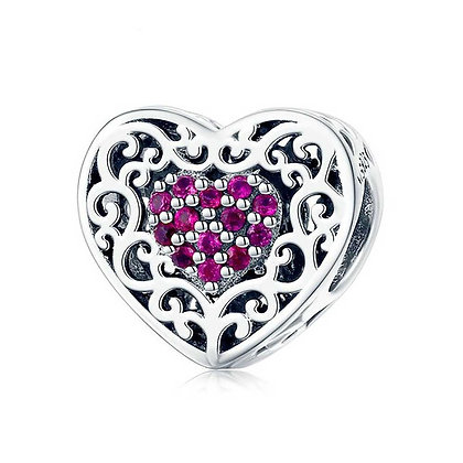 Charm Heart Cz Pink