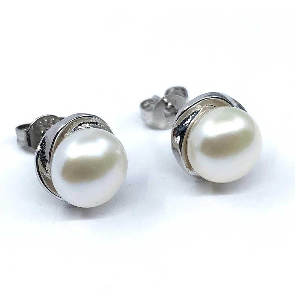 Pendientes plata ley perla natural