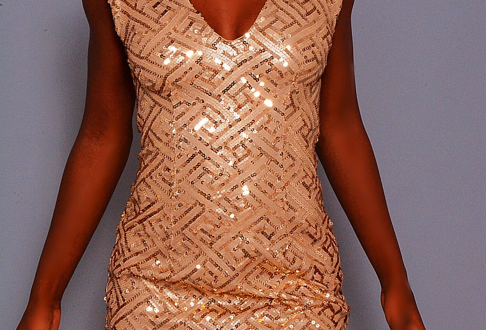 WORLD'S A STAGE ROSE GOLD SEQUIN DRESS