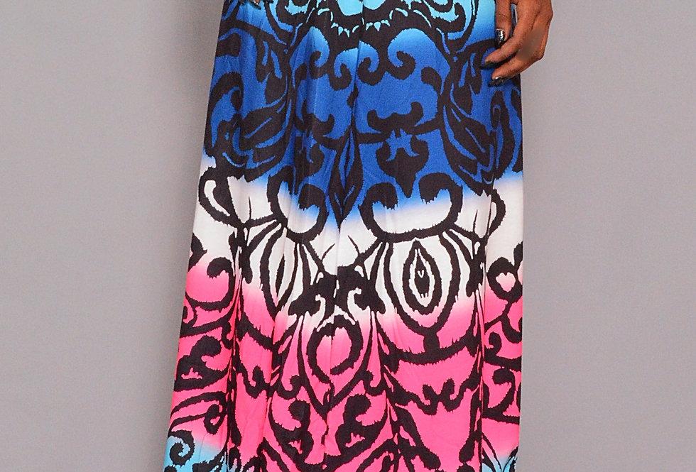 Pink, Blue white long maxi skirt