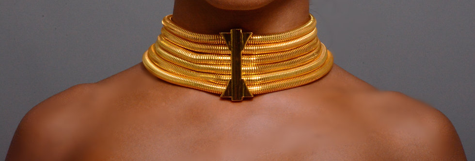 Gold Choker Necklace, Multi Layered Cocoon Chain Necklace With Gold Connector