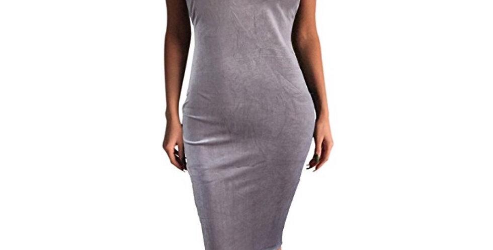 Woman seem less bodycon Velvet silver/gray dress