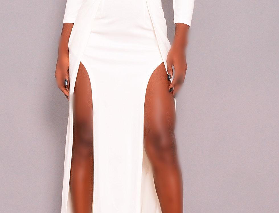 white satin plunge twist front-split dress