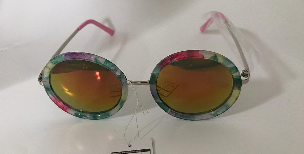 Flower Round Frame Retro Sunglasses