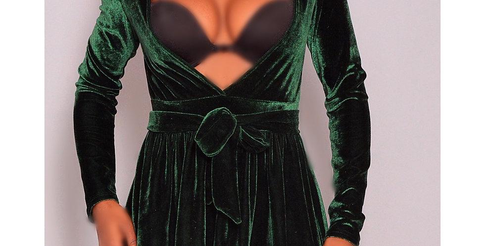 Green Long Life Velvet Dress