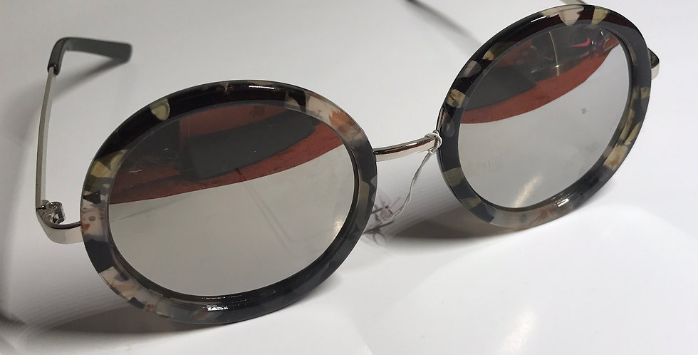 Flower Vintage Retro Round Frame Sunglasses