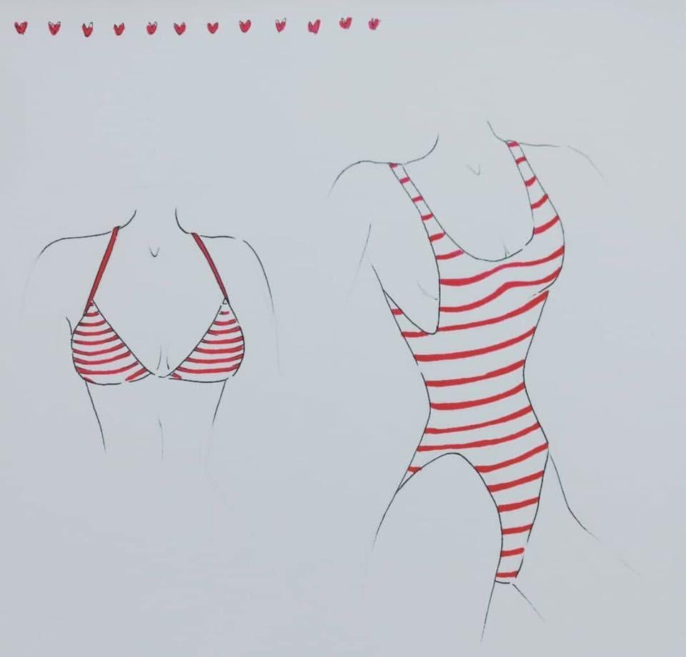Red & White Stripped swimwear design