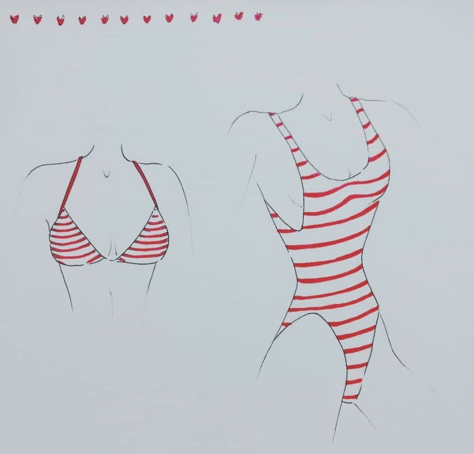 Red & White Stripped swimwear design
