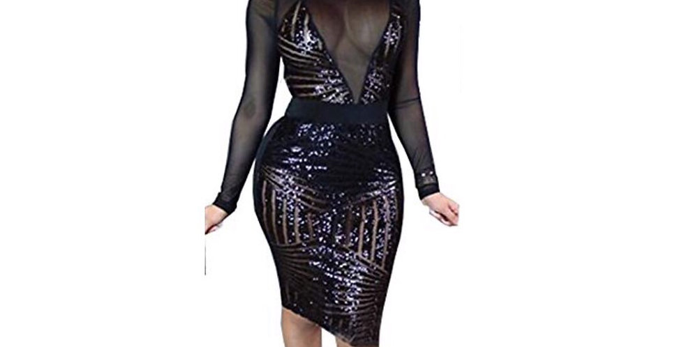 Black Sequin Long Sleeves Party Dress
