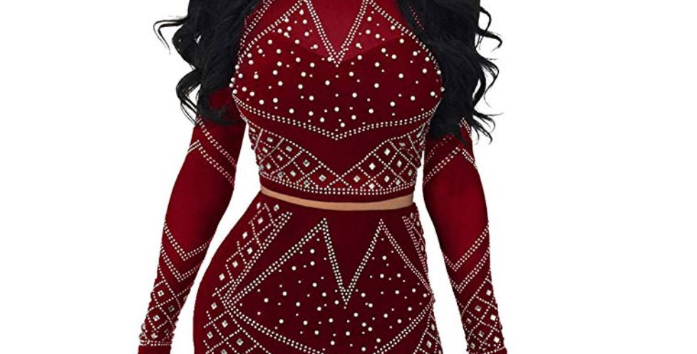 Sexy 2-Pieces Bodycon Outfit Embellished Rhinestone Long Sleeve Crop To