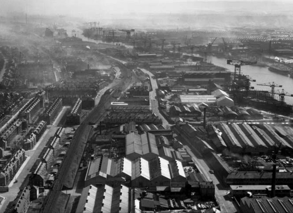 Aerial image of Scotstoun, Glasgow, in March 1950