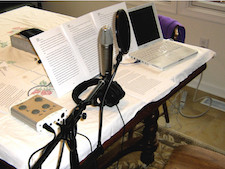A typical recording set up for spoken word at home