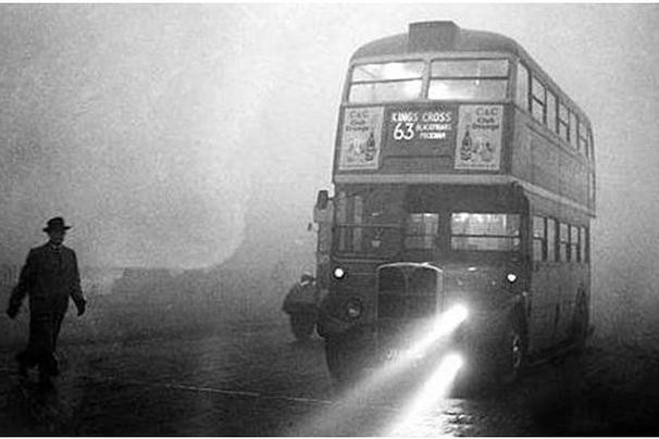 London bus in early 1950s smog