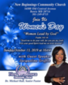 October 13, 2019 Pastor Hall Womens Day