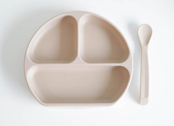 Beige Suction Plate with Lid + Spoon Set (뚜껑+ 스푼)