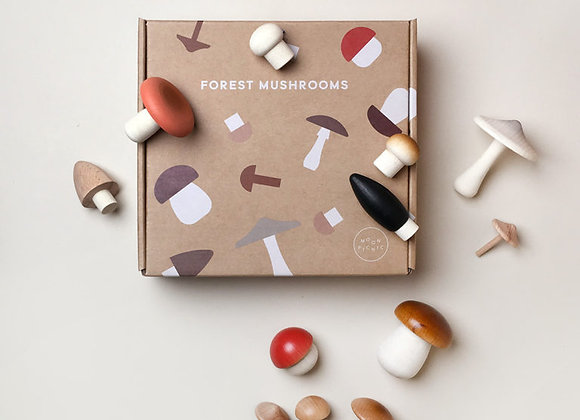 Wooden Mushrooms in a Box