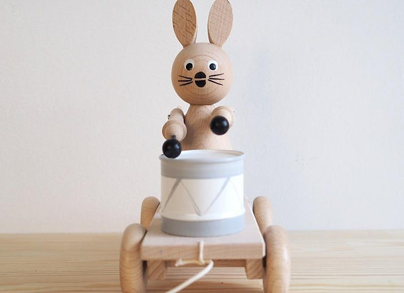 Alice- Pull Along Wooden Bunny With Drum