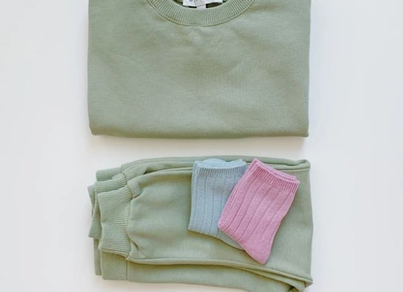 Maybell Crew Neck Sweatshirts Khaki Set