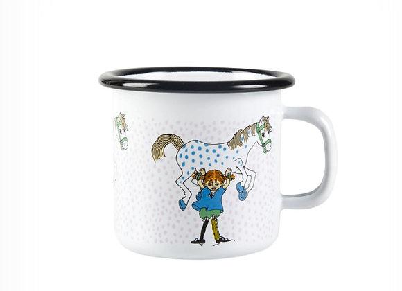 Pippi Enamel Mug Pippi and the Horse 2,5dl (250ML, 유아용)