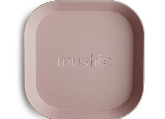 Mushie Square Dinnerware Plates, Set of 2 (Blush)