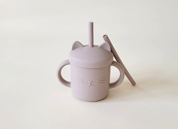 Meow Double Handle Straw Cup - Warm Taupe